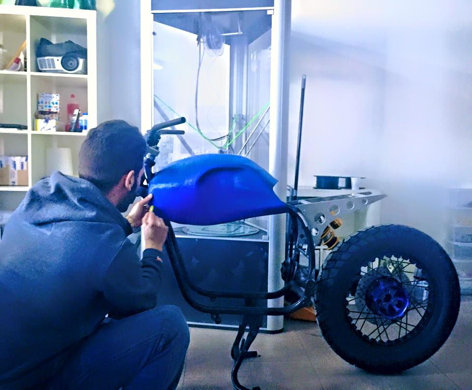 prototype of the motorcycle with the 3d printed fuel tank