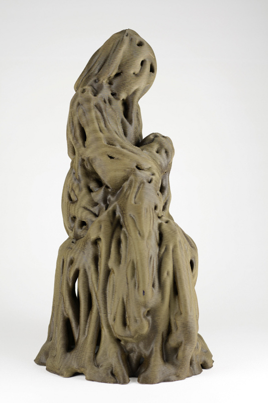 clay 3dprint francesco pacelli wasproject_Robotic woman nursing a baby_ceramics_1