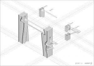 muro stampato in 3d, disegno dettaglio