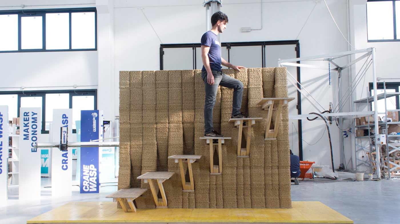 muro stampato in 3d, scala