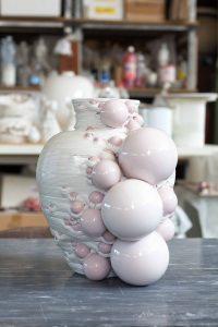vaso stampato in 3d, composizione di sfere