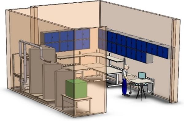 Rendering in 3D del Laboratorio realizzato per la Direzione centrale Anticrimine della Polizia di Stato