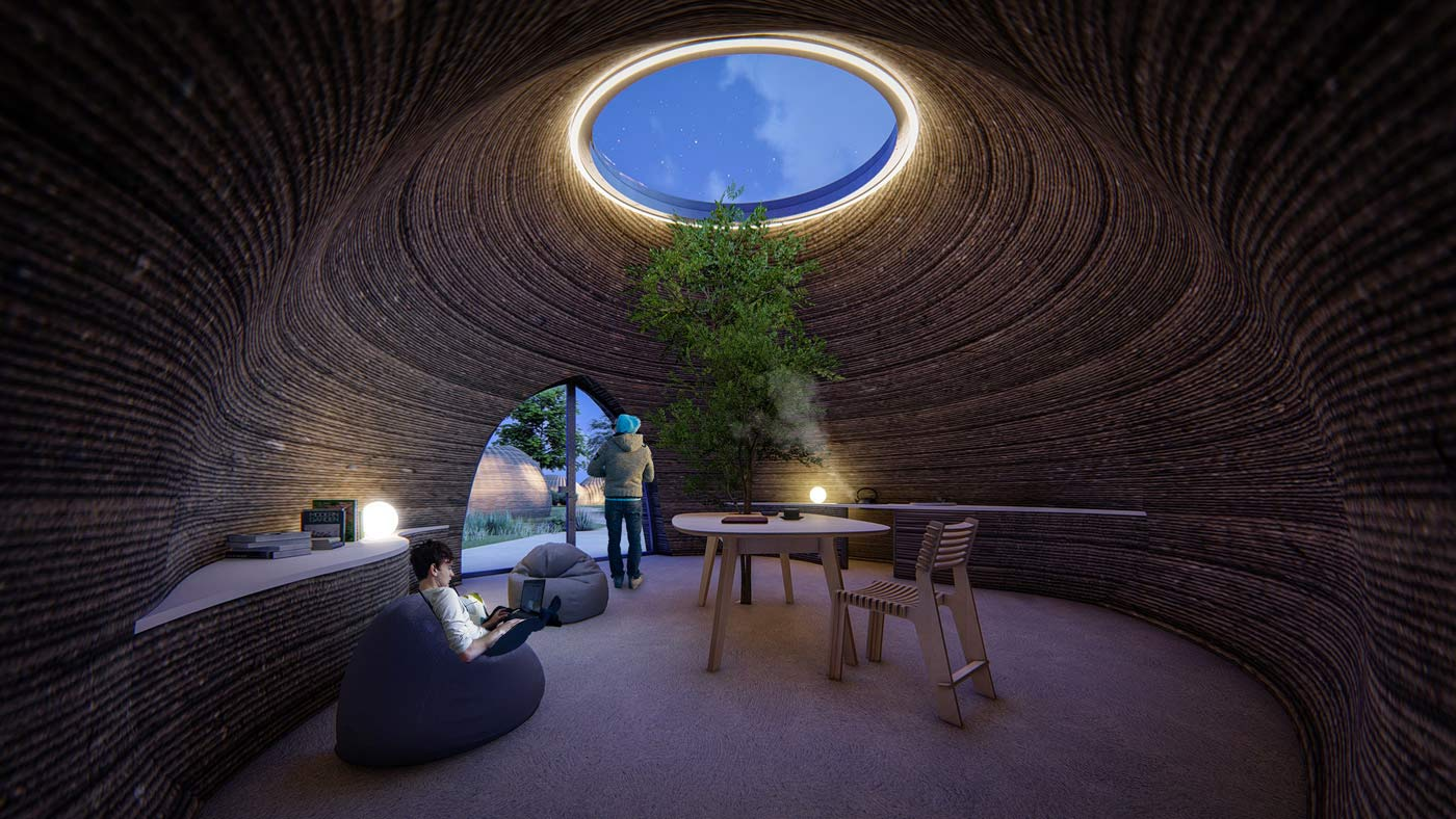 TECLA - 3d printed earth house - by night