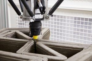 stampa 3d cemento dettaglio su ugello e estrusione