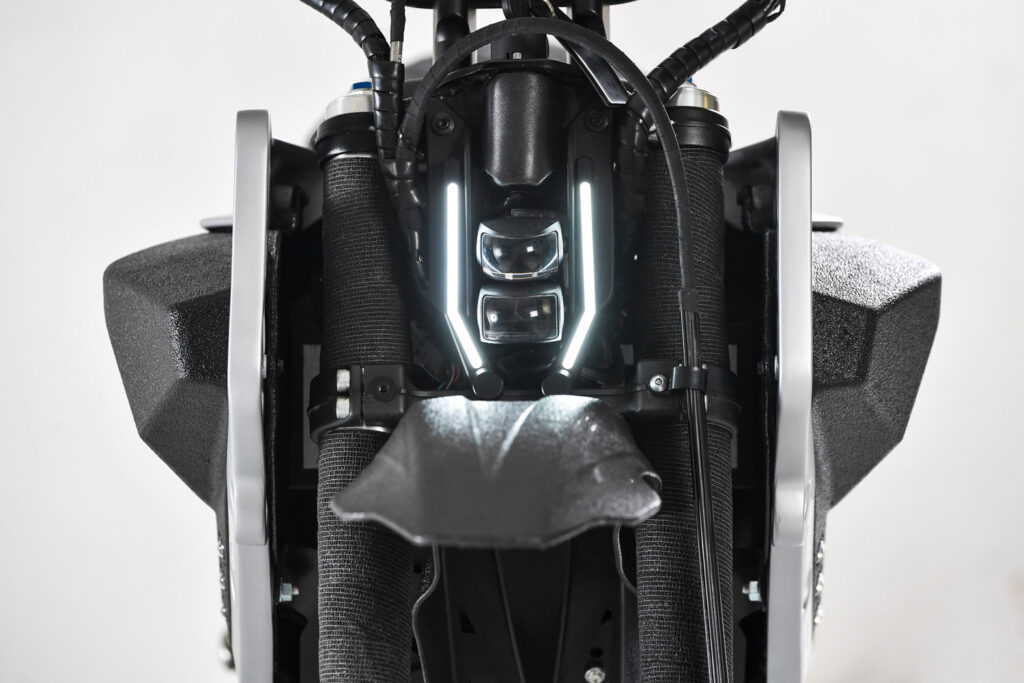 front side of the electrical motorcycle The Rugged