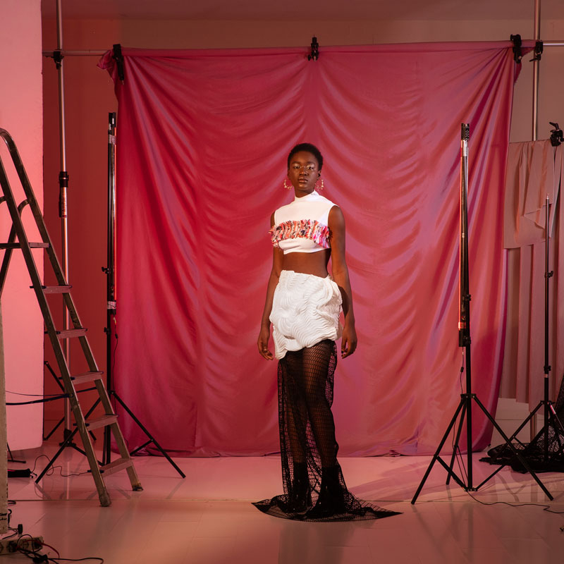 Model wears 3d printed clothes from the collection TECHNE