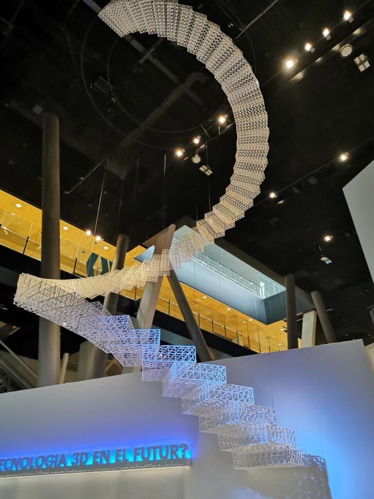 3D printed stairs art installation in Cosmocaixa Museum in Barcelona